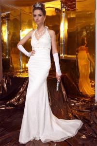 Sheath Halter White Lace Pearl Beaded Wedding Dress Sweep Train