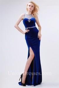 Sheath High Neck Side Slit Royal Blue Velvet Beaded Special Occasion Prom Dress