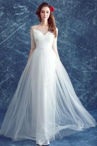Sheath Illusion Neckline Half Sleeve Tulle Outdoor Beach Flowing Wedding Dress