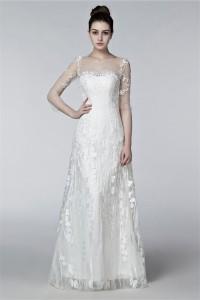 Sheath Illusion Neckline Keyhole Back 3 4 Sleeve Lace Beach Wedding Dress