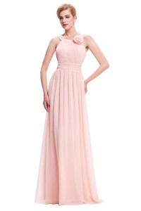 Sheath Long Blush Pink Chiffon Ruched Bridesmaid Dress With Straps Flower