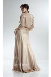 Sheath Long Champagne Chiffon Ruched Mother Evening Dress Bolero Jacket