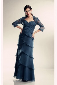 Sheath Navy Blue Chiffon Ruffle Tiered Mother Evening Dress Lace Jacket