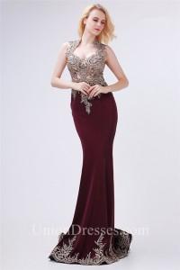 Sheath Queen Anne Neckline Sheer Back Burgundy Satin Applique Prom Dress