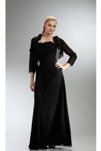 Sheath Ruffled Neckline Black Chiffon Mother Evening Dress With Bolero Jacket