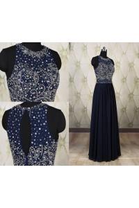 Sheath Scoop Neck Keyhole Back Long Navy Blue Chiffon Draped Prom Dress