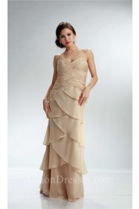 Sheath Strapless Champagne Chiffon Ruffle Tiered Mother Evening Dress Lace Jacket