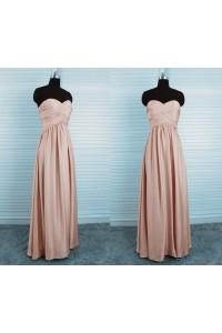 Sheath Strapless Empire Waist Long Peach Silk Draped Bridesmaid Dress
