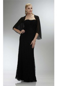 Sheath Strapless Long Black Lace Mother Of The Bride Dress With Bolero Jacket
