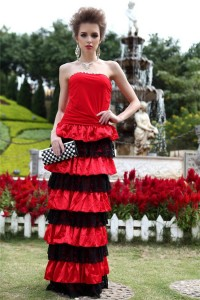Sheath Strapless Red Jersey Black Lace Ruffle Tiered Special Occasion Evening Dress