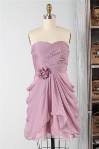 Sheath Strapless Short Dusty Rose Chiffon Ruched Bridesmaid Party Dress With Flower