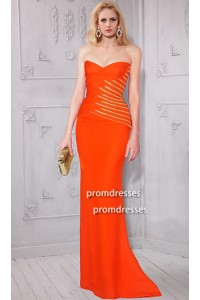 Sheath Strapless Sweetheart Long Orange Satin Beaded Evening Prom Dress