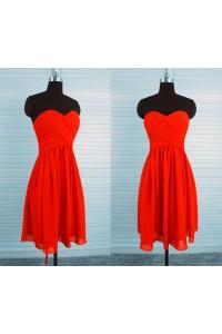 Sheath Sweetheart Empire Waist Corset Back Short Red Chiffon Party Bridesmaid Dress
