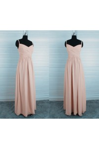 Sheath Sweetheart Empire Waist Long Vintage Pink Chiffon Bridesmaid Dress With Straps