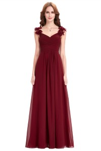 Sheath Sweetheart Long Burgundy Chiffon Ruched Bridesmaid Dress With Flowers