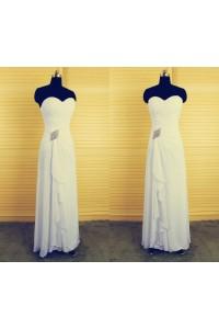 Sheath Sweetheart Long White Chiffon Beaded Mother Of The Bride Evening Dress