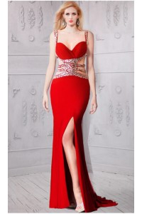 Sheath Sweetheart Side Cutout Red Jersey Beaded Prom Dress With Straps