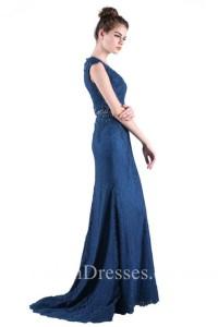 Sheath V Neck Cap Sleeve Long Navy Blue Lace Beaded Evening Prom Dress