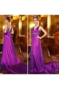 Sheath V Neck Empire Waist Long Fuchsia Taffeta Evening Dress With Train