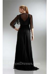 Sheath V Neck Long Black Chiffon Beaded Mother Evening Dress Bolero Jacket