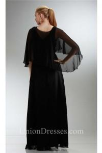 Sheath V Neck Long Black Chiffon Mother Evening Dress With Shawl