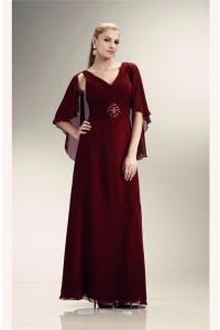 Sheath V Neck Long Burgundy Chiffon Mother Evening Dress With Shawl
