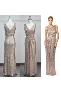 Sheath V Neck Long Champagne Sequined Evening Prom Dress With Belt