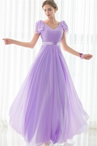 Sheath V Neck Long Lilac Chiffon Wedding Guest Bridesmaid Dress With Sash