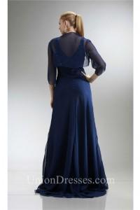 Sheath V Neck Navy Blue Chiffon Beaded Mother Evening Dress Bolero Jacket