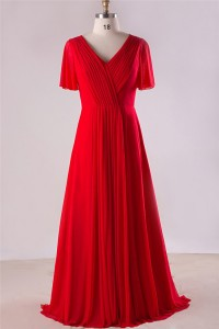 Sheath V Neck Open Back Red Chiffon Ruched Plus Size Bridesmaid Evening Dress