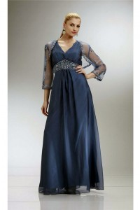 Sheath V Neck Sleeveless Navy Blue Chiffon Beaded Evening Dress With Bolero Jacket