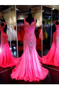 Shinning Mermaid Sweetheart Backless Hot Pink Tulle Beaded Prom Dress With Straps