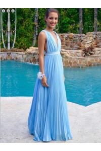 Simple A Line Deep V Neck Long Sky Blue Chiffon Pleated Evening Prom Dress
