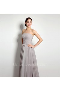 Simple A Line Strapless Long Silver Chiffon Ruched Bridesmaid Dress Corset Back