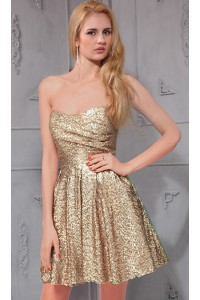 Simple A Line Strapless Short Champagne Sequined Party Prom Dress