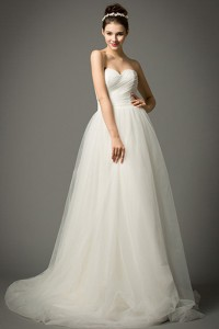 Simple A Line Strapless Sweetheart Tulle Ruched Wedding Dress With Shawl