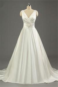 Simple A Line V Neck Open Back Ivory Satin Ruched Wedding Dress