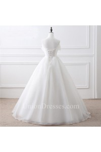 simple ball gown strapless corset back organza wedding