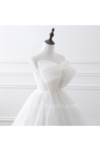 Simple Ball Gown Strapless Corset Back Organza Wedding Dress With Bow