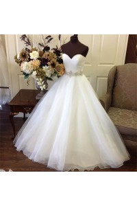 Simple Ball Gown Strapless Sweetheart Tulle Wedding Dress Crystals Sash