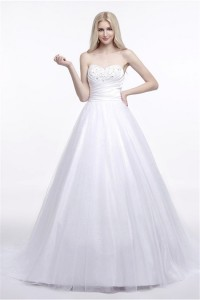 Simple Ball Gown Sweetheart Satin Tulle Wedding Dress Court Train