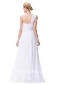 Simple One Shoulder Sweetheart Chiffon Beach Wedding Dress Corset Back No Train