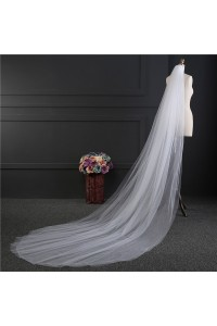 Simple Two tier Tulle Wedding Bridal Cathedral Veil With Comb