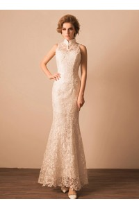 Slim Mermaid High Neck Collar Venice Heavy Lace Wedding Dress Without Train