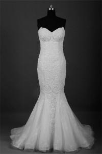 Slim Mermaid Sweetheart Lace Beaded Wedding Dress Corset Back