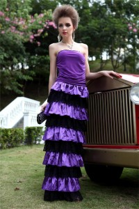 Slim Strapless Purple Jersey Black Lace Ruffle Tiered Special Occasion Evening Dress