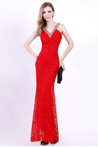 Slim V Neck Cut Out Back Red Lace Beaded Special Occasion Evening Dress