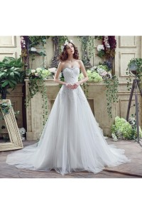 Sparkly A Line Strapless Lace Beaded Crystal Wedding Dress