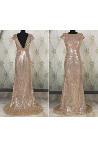Sparkly Mermaid Bateau Neck Cowl Back Champagne Sequin Prom Dress