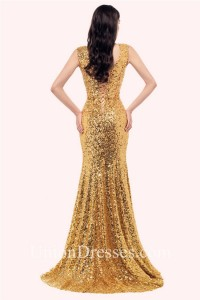 Sparkly Mermaid V Neck Sleeveless Corset Gold Sequin Prom Dress Back